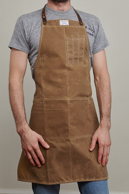 448H bosc pear wax canvas cotton apron - male front