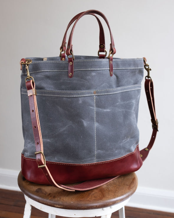 Wax Canvas & Leather Crossbody Shoulder Bag