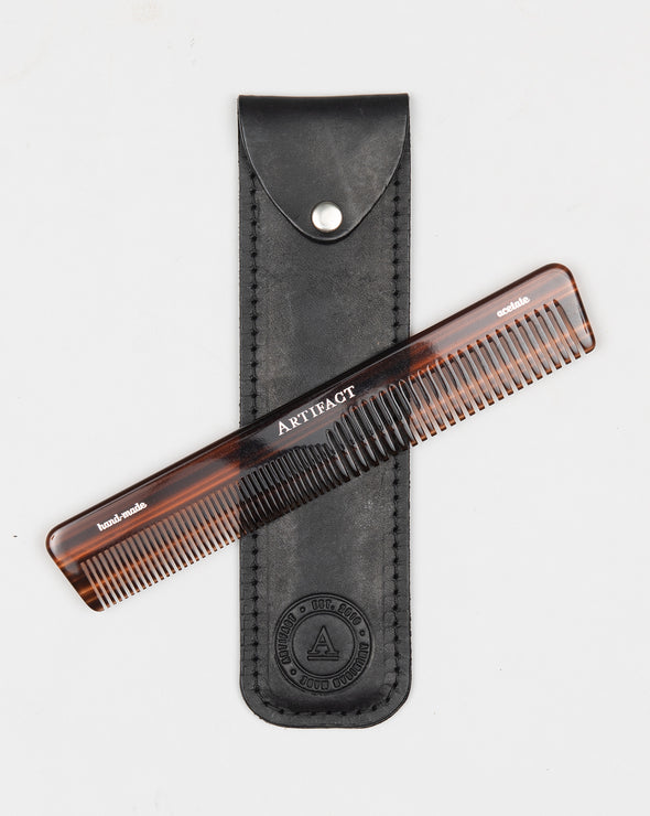 ARTIFACT acetate comb w/ black leather case
