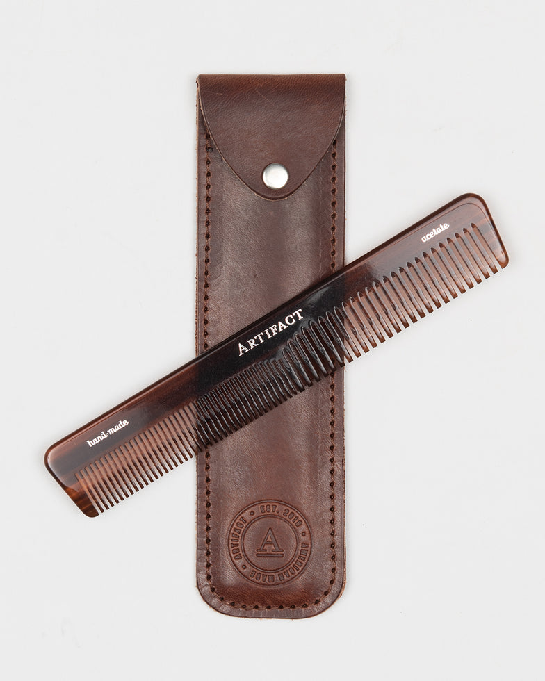 ARTIFACT acetate comb w/ bourbon leather case