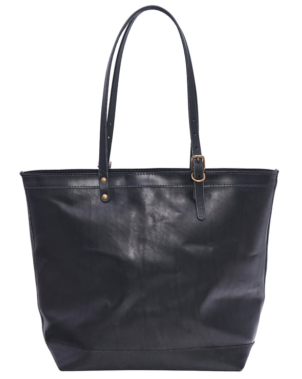 ARTIFACT all leather black zipper tote bag - front