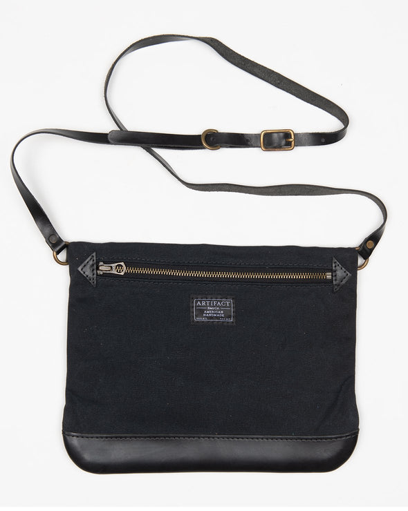 ARTIFACT Black Wax Canvas Crossbody Bag - Front