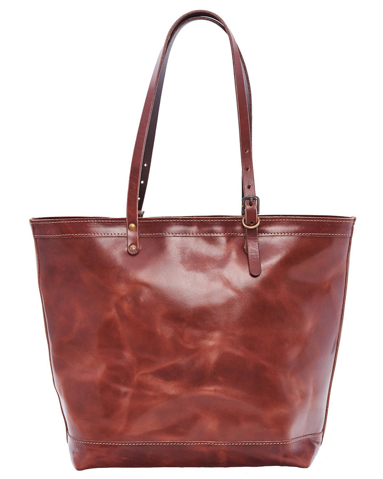 ARTIFACT all leather bourbon brown zipper tote bag - front