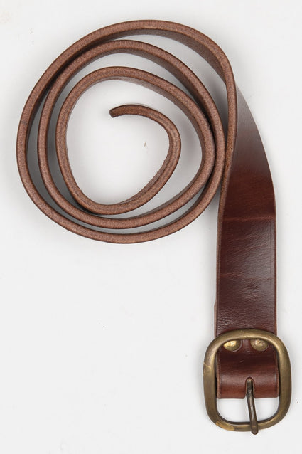ARTIFACT bourbon harness leather belt w/ center bar buckle
