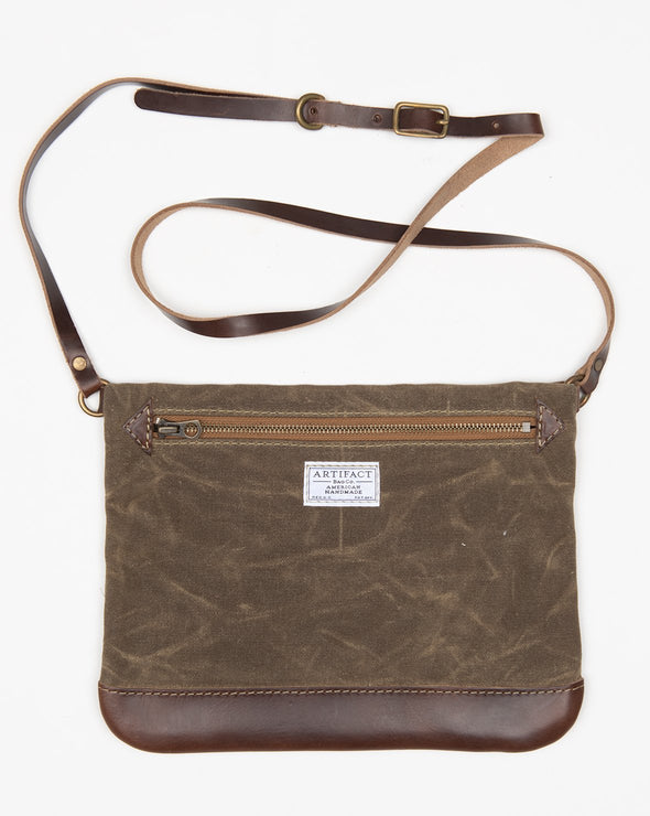 ARTIFACT Dark Khaki Wax Canvas Crossbody Bag - Front