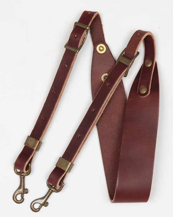 ARTIFACT burgundy harness leather shoulder strap