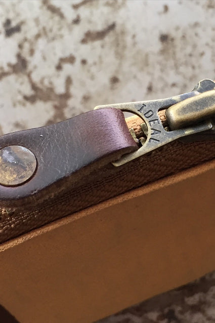 Horween leather zipper pull