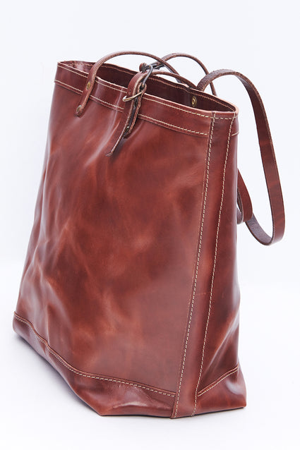 ARTIFACT all leather bourbon brown zipper tote bag - side