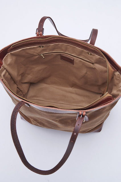 ARTIFACT Rust Wax Canvas Zipper Tote - interior