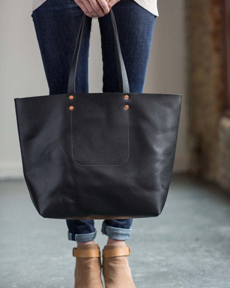 Black Harness Leather Tote