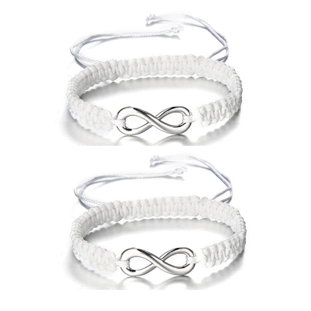 2 pcs/Set Hand Braided Rope String Bracelet Infinity
