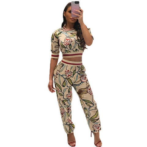 2018 Fashion Women Sets Hip Hop Dance Playsuit Casual Printed Short Sleeve O Neck Floral T Shirt Tops And Pants Street wear