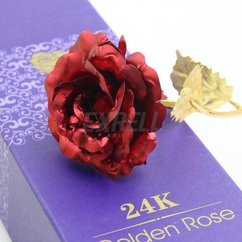 24K Gold Plated Golden Rose Flower