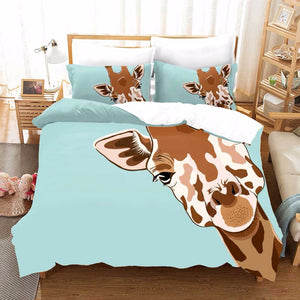 3D luxury Cartoon Giraffe Duvet Cover Bedding Set