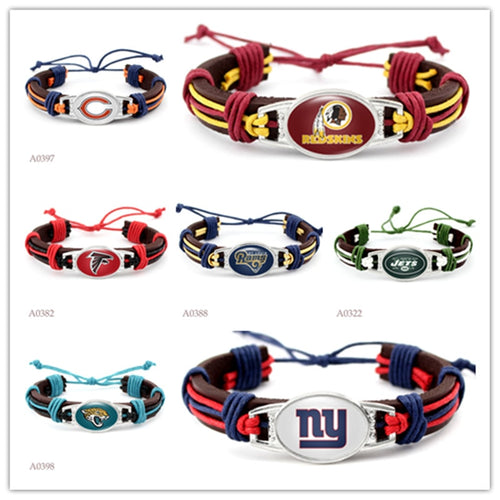 Football Team Charm Leather Bracelets Bangles