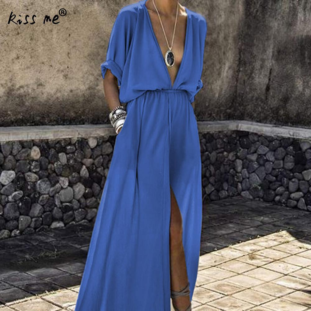 Deep V Beach Dress Plus Size Loose Beach Cover Up
