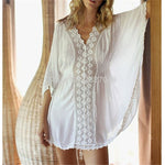 Deep-V Neck Swimsuit Cover Ups Women Sexy Kaftan Beach Tunic Dress 2019 Summer Robe De Plage Cotton Pareo Beach Cover Up