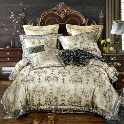 European Style Luxury Satin Jacquard  Silk/cotton Bedding Set