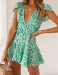 Fashion Women Boho V-neck Floral Summer Party Beach Short Mini Dress Sundress