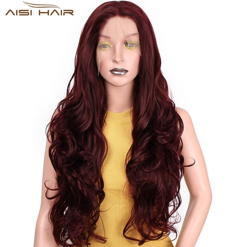 I's a wig Long Synthetic Front Lace Wigs 26 inch Red Wavy Wig can be Cosplay Wave Hair Heat Resistant Fiber for women