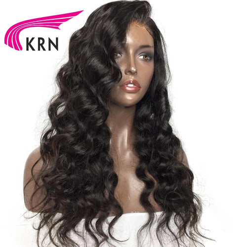 KRN Natural Lace Front Human Hair Wigs For Women With Baby Hair Body Wave Remy Hair Pre Plucked Brazilian Lace Wigs 130 Density