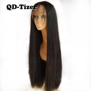 Long Yaki Straight Hair Black Color Synthetic Lace Front Wigs Glueless Soft 180 Density Lace Front Wig Yaki Hair for Women