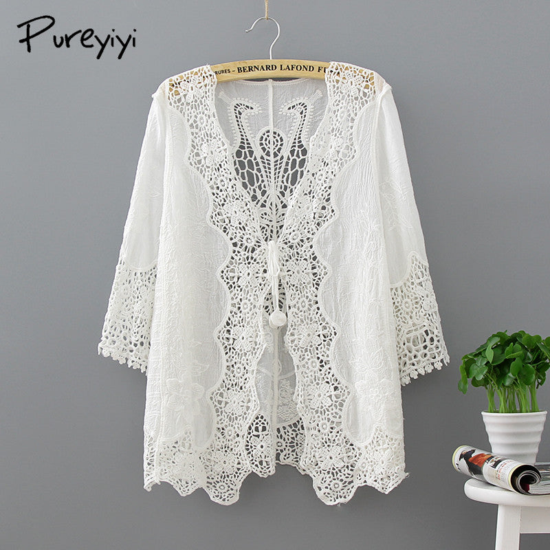 Sexy Crochet Beach V Neck Cover Up Split Swimwear Summer Outings Swimsuit Cover Ups Women Beach Wear Dress Summer Clothes Lace