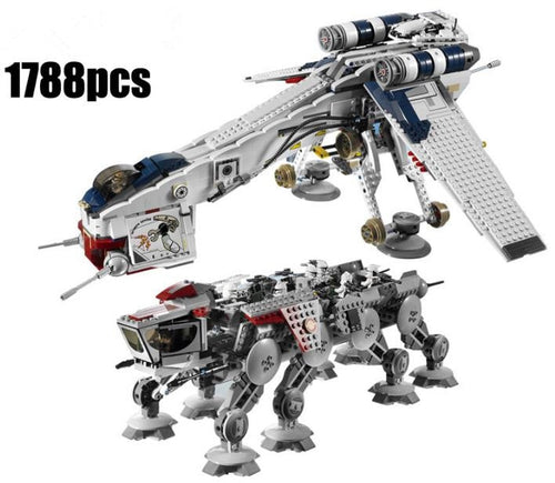 Star War The Republic Dropship with AT-OT Walker Model Building Blocks Toys for Children Compatible With 10195  Bricks Gift