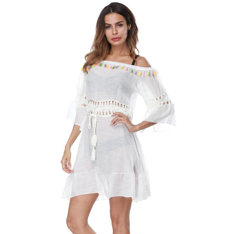 WADE SEA White  Beach Cover Up Dress Women Summer Beach Wear Crochet Bikini Cover-Ups with Tassel Loose robe de