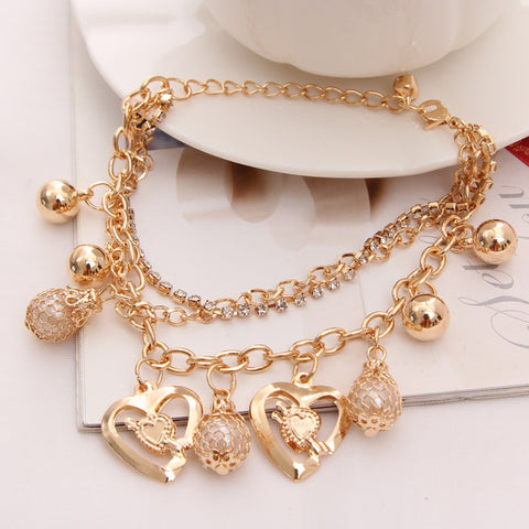 Mulitlayer Gold Chain Heart Bracelets & Bangles Charm Bracelets For Women
