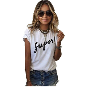 Letter Print  Tee Tops Short Sleeve O-neck Women T Shirts