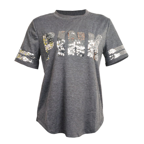 Image of New Vs Pink Cotton Sequins T Shirt Women