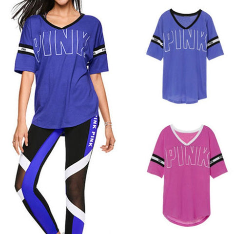 Image of Casual T Shirt Women Printed Letter Pink V-Neck Harajuku