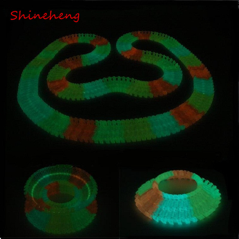 Miraculous Glowing Race Track Bend Flex Flash in the Dark Assembly Car Toy