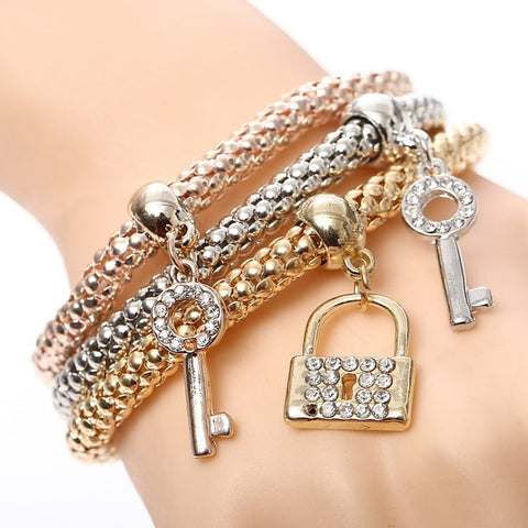 Image of 3 Pcs/Set Crystal Owl Heart Charm Bracelets & Bangles
