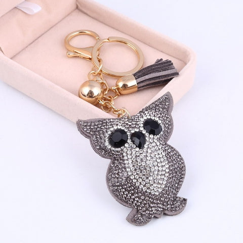 Cute Owl Leather Tassel Keychain