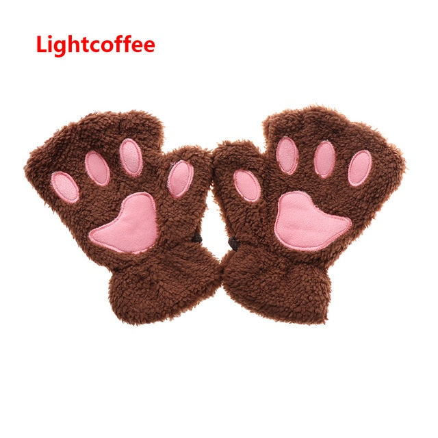 1 Pair of Winter Warm Women Lady Paw Gloves