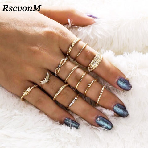 Image of RscvonM 12 pc/set Charm Gold Color Midi Finger Ring Set for Women Vintage Boho Knuckle Party Rings Punk Jewelry Gift for Girl