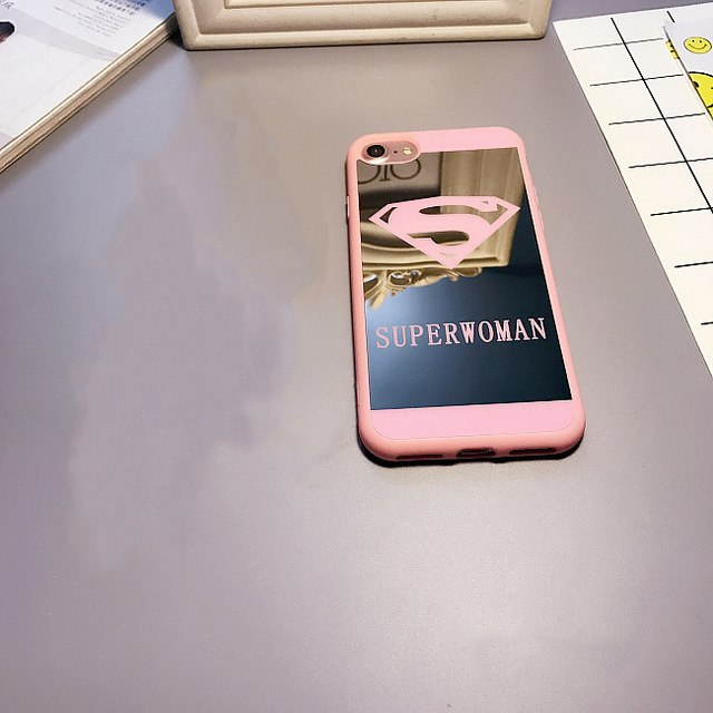 Cute Superman Mirror Surface Case For iPhone X 7 Plus 5s SE
