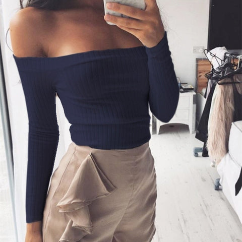 Off shoulder crop top t shirts hot sale long sleeve solid short t-shirts