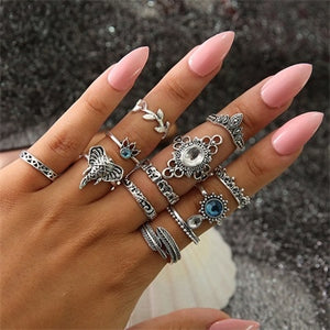 HuaTang Bohemian Antique Silver Ring Geometric Elephant Flower Green Rhinestone Knuckle Rings Midi Finger Anel Rings Jewelry