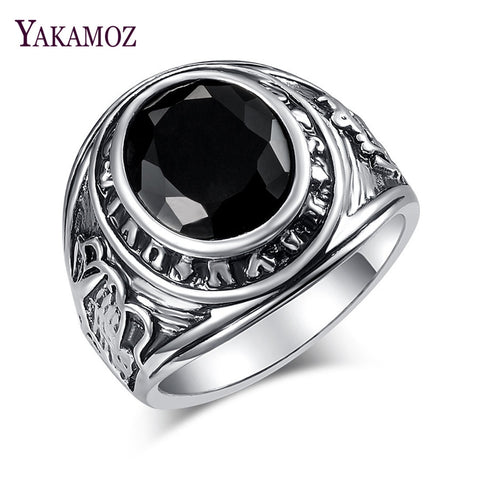 Vintage Silver Color Ring Men Jewelry Lovely Ring With Stone Gift For Women
