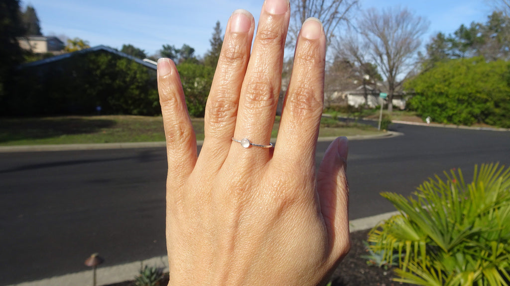 Tiny Rose Quartz Stacking Ring, size 7.5