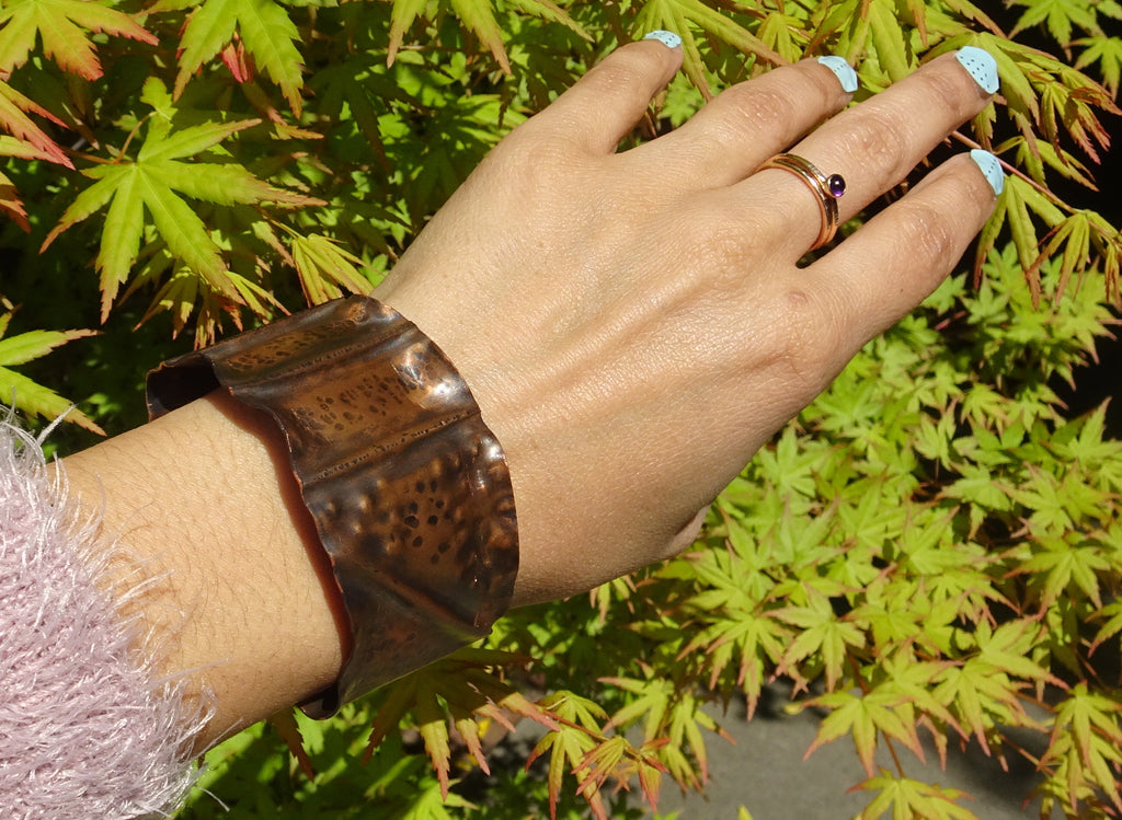 Rustic Fold-Formed Copper Cuff Bracelet