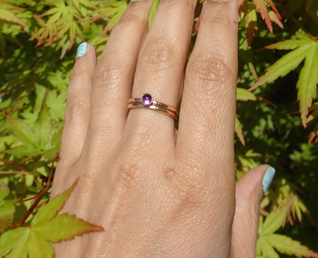 Amethyst Stacking Ring Set