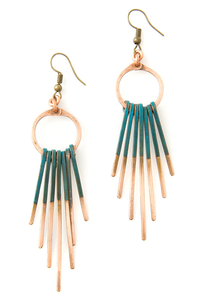 Copper Viridian Fringe Earrings