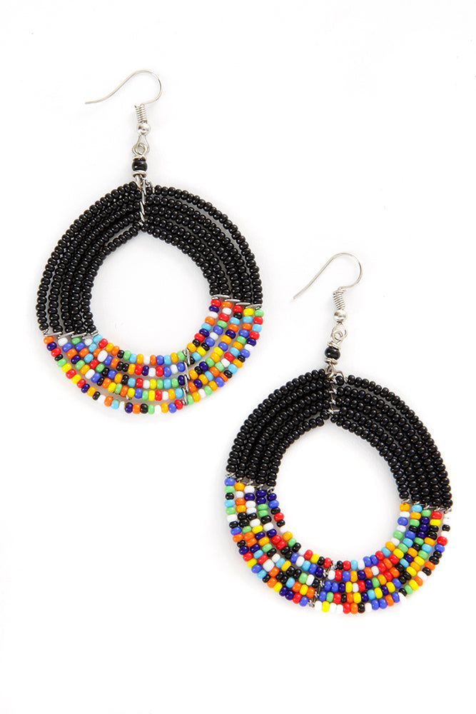 Black and Rainbow Maasai Celebration Circle Earrings