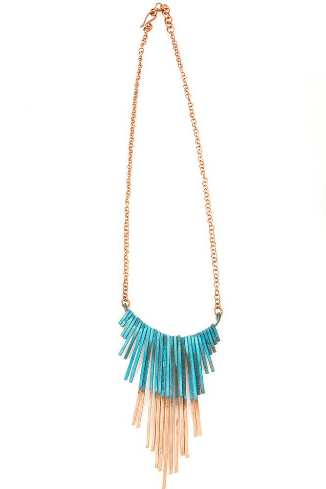Copper Viridian Fringe Necklace