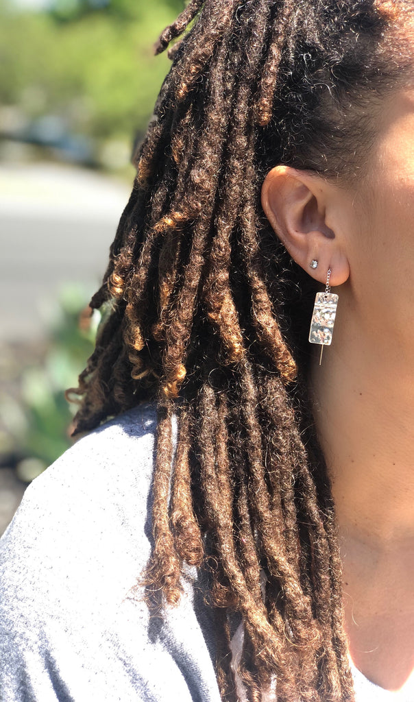 Silver Pull Through Chain Earrings