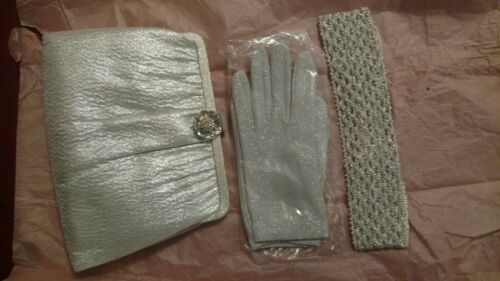 Vintage Ande Glitter Clutch with matching headband and gloves